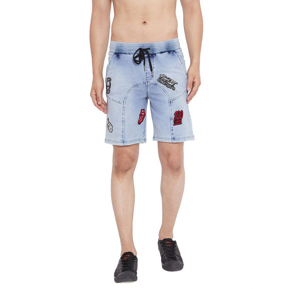 Indigo Light Washed Patched Shorts Shorts - Fugazee