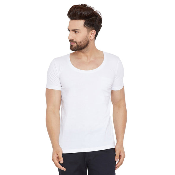 White Deep Scoop Neck Tee T-Shirts - Fugazee