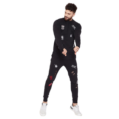 Black Patched Distressed Sweatshirt and Joggers Combo Suit Suits - Fugazee