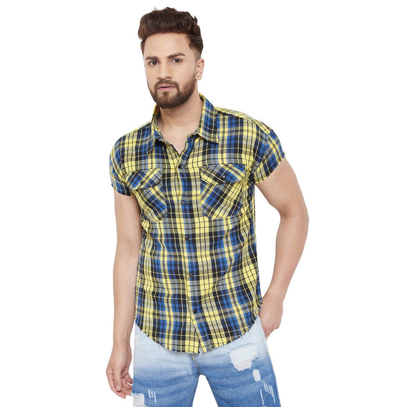 Yellow Plaid Drop Shoulder Shirt