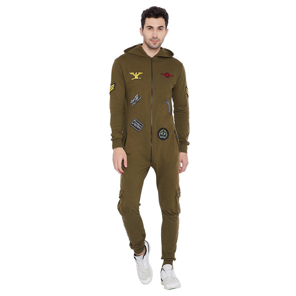 Army Patched Onesie Jumpsuit - Fugazee