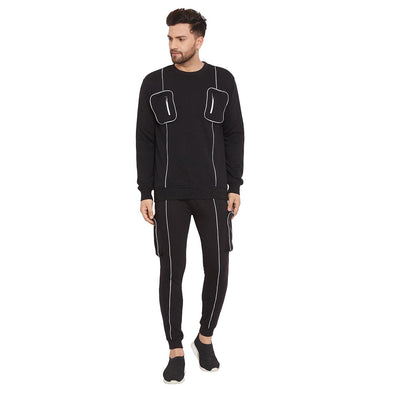 Black Chest Pocket Reflective Piping  Tracksuit
