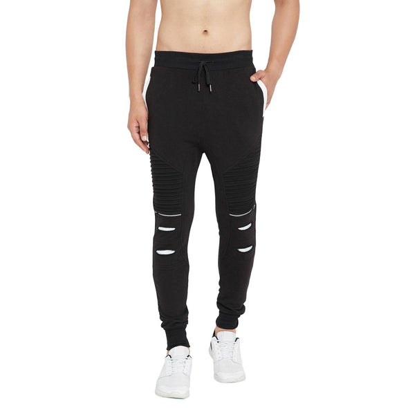 Black Zipped Distressed Biker Joggers Joggers - Fugazee