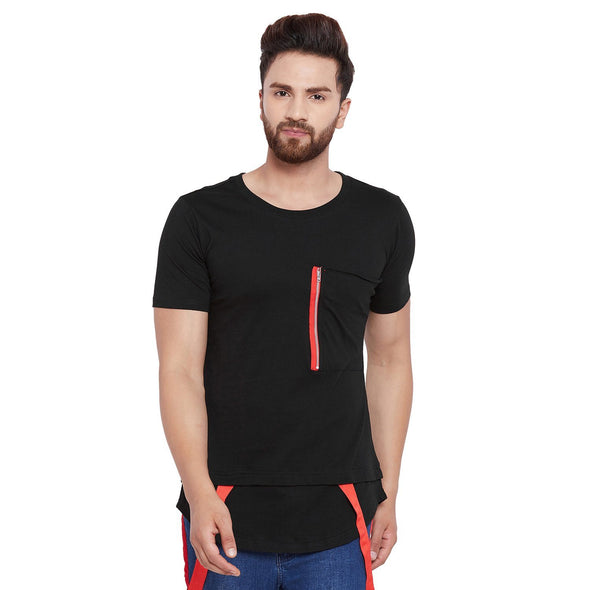 Black Layered Strap Tee T-Shirts - Fugazee