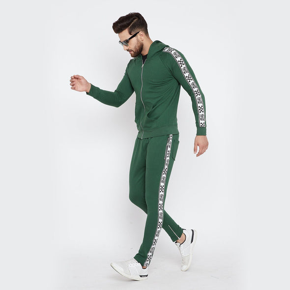Forest Green Checkered Taped Combo JogSuit Suits - Fugazee