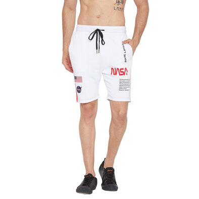 White NASA Base Layer Shorts Shorts - Fugazee