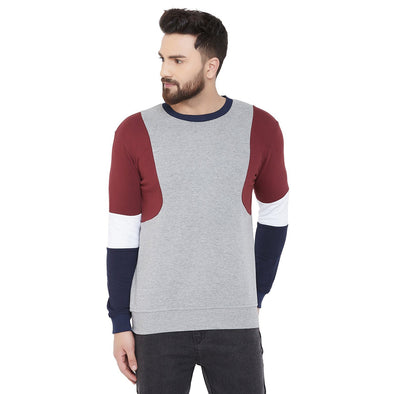 Grey and Wine Cut and Sew Sweatshirt Sweatshirts - Fugazee
