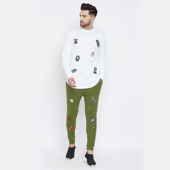 White and Olive Distressed Patched Tracksuit