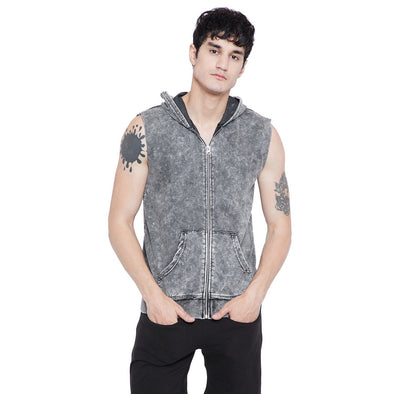 Acid Washed Sleeveless Hoodie T-Shirts - Fugazee