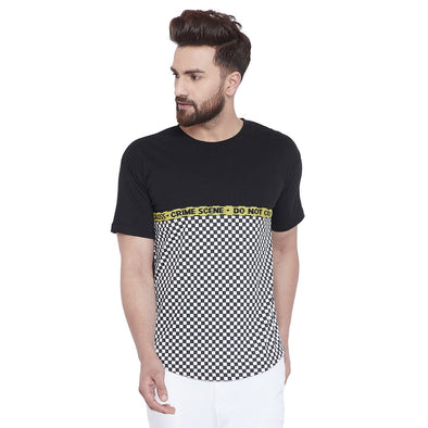 BLACK & WHITE CHECKERED CURVED HEM TEE T-Shirts - Fugazee
