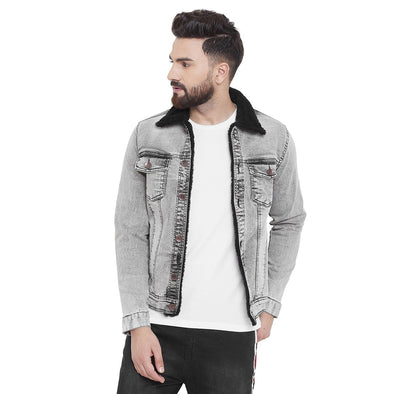 Stone Faux Fur Denim Jacket
