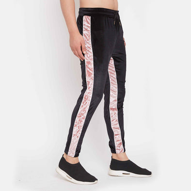 Black and Rose Velour Trackpant