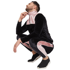 Black and Rose  Turtle Neck Velour  Tracksuit