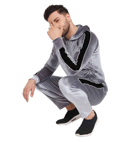 Steel And Black Taped Velour Tracksuit