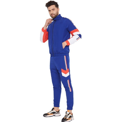 Blue Nylon Cut and Sew Taped Light weight Tracksuit