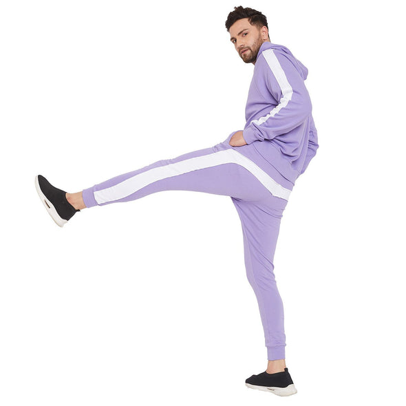 Plum Overzised Taped Sweasthirt and Joggers Combo Tracksuit