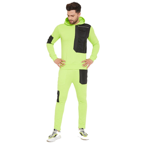 Neon Green Nylon Patch Tracksuit