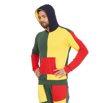 Rasta Colour Blocked Cut and Sew Hooded Sweatshirt