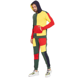 Rasta Colour Blocked Cut and Sew  Tracksuit