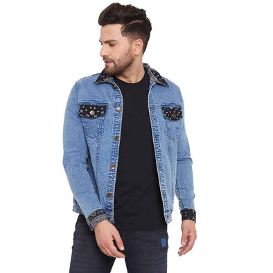 Paisley Print Patched Denim Jacket