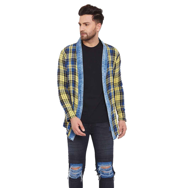 Yellow Checkered Denim Placket Shrug