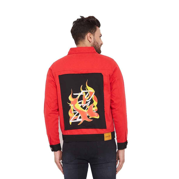 Red Twill Flames Patched Jacket