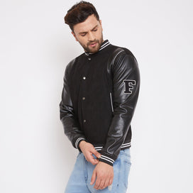 Black Faux Suede Leather Varsity Bomber Jacket