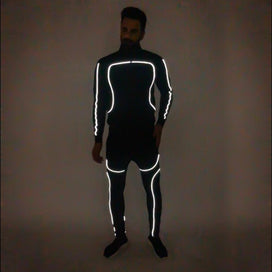 Black Scuba Reflective Sweatshirt and Sweatpants Combo Jogsuit Suits - Fugazee