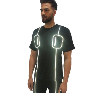 Black Chest Pocket Reflective Piping Tshirt
