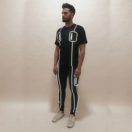 Black Chest Pocket Reflective Piping Tshirt and Joggers Combo Suit Suits - Fugazee