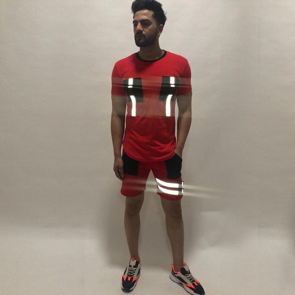 Red Reflective Buckled Tshirt and Shorts Combo Suit Suits - Fugazee