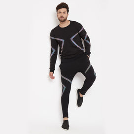 Black Rainbow Reflective Taped Sweatshirt and Joggers Tracksuit