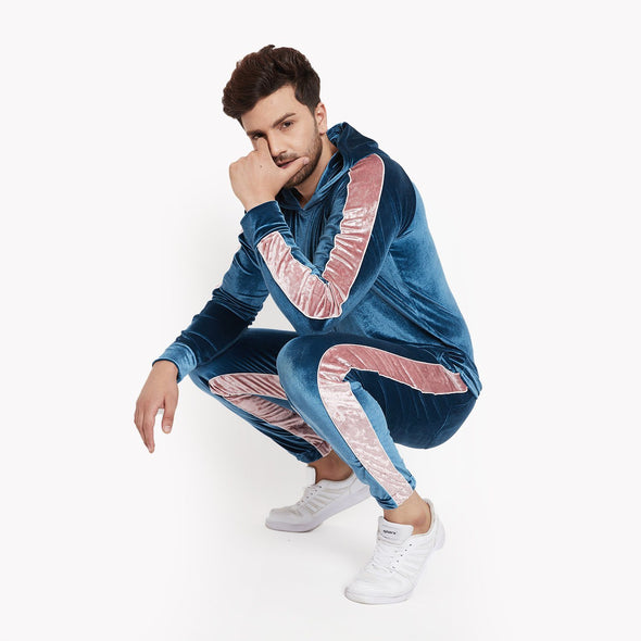 Teal and Rose Taped Velour Tracksuit