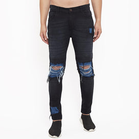Black Ripped Knee Patched Jeans