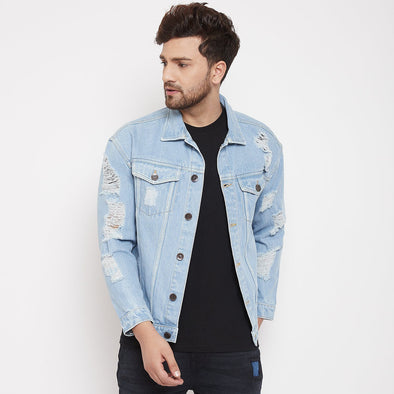 Blue Oversized Damaged Denim Jacket