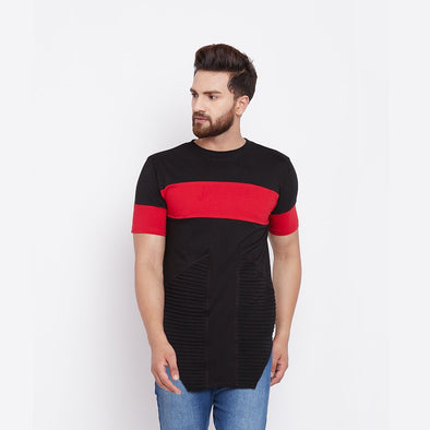 Black Color Blocked Biker Tee T-Shirts - Fugazee