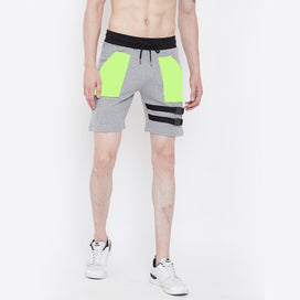 Grey Neon Blocked Shorts