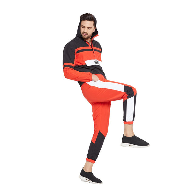 Red Nylon Colour blocked Tracksuit
