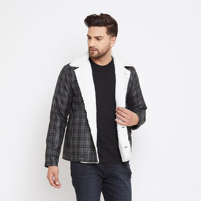 Charcoal Checkered Faux Fur Coat