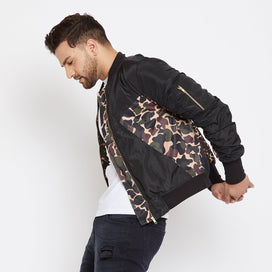 Camo on Black Nylon Gathered Sleeves Bomber Jacket