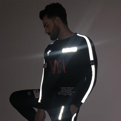 Black NASA Space Reflective Sweatshirt Sweatshirts - Fugazee