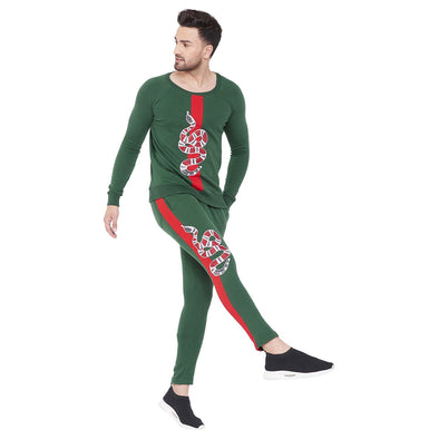 Forest Green Snake Patched Sweatshirt and Sweatpants Combo Jogsuit Suits - Fugazee