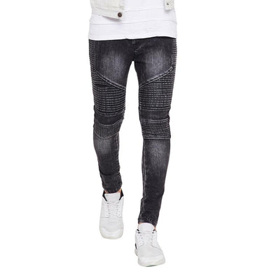 Black Biker Denim Jeans - Fugazee