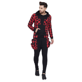 Red Plaid Chest Pocket Sweatshirt and Joggers Combo Tracksuit