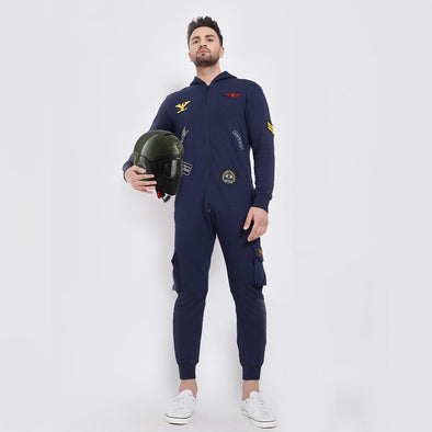 Navy Patched Onesie Jumpsuit - Fugazee