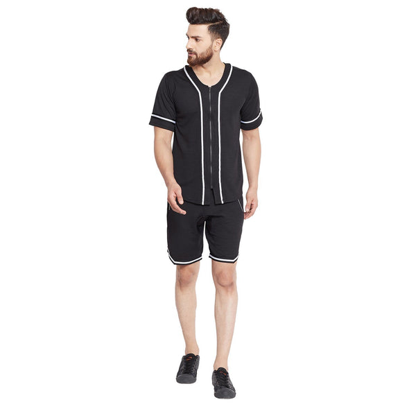 Black Mesh BaseBall Shirt & Shorts Combo Suit Suits - Fugazee