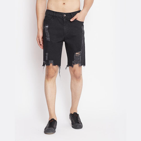 Black Heavy Distressed Denim Shorts Shorts - Fugazee