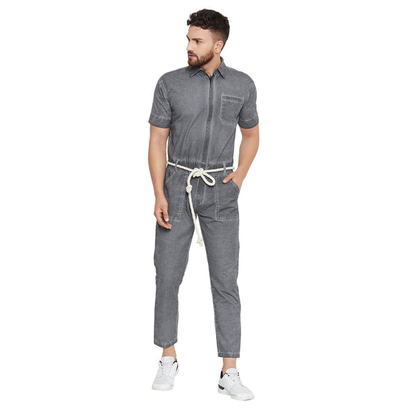 Cement Pigment Washed Jumpsuit Jumpsuit - Fugazee