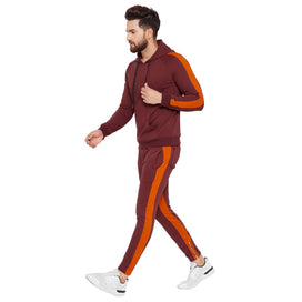 Wine Contrast Taped Combo JogSuit Suits - Fugazee