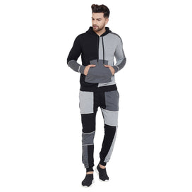 Black and Grey Raw Edged Cut and Sew Tracksuit